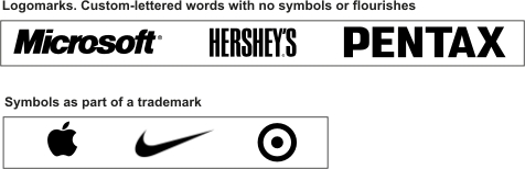 Examples of logomarks and symbols within trademarks